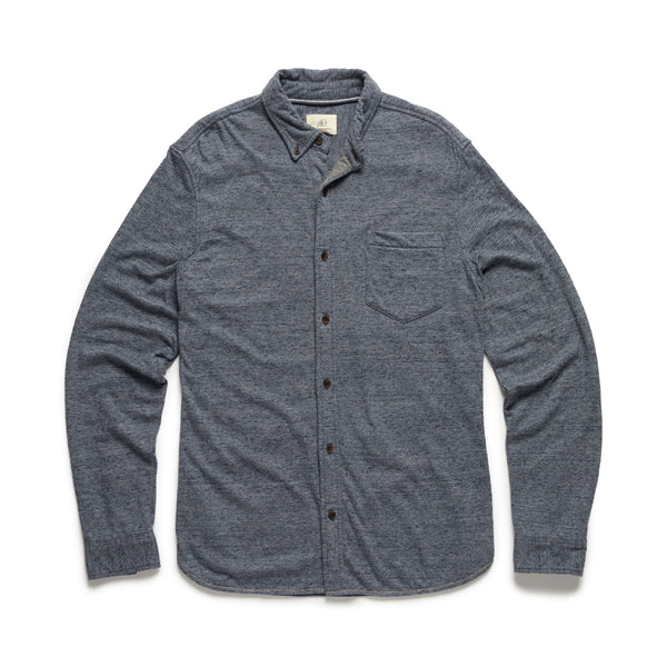 L/S Double Face Knit Shirt - Navy Heather