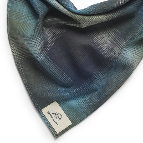 Plaid Bandana Face Covering - Storm Blue