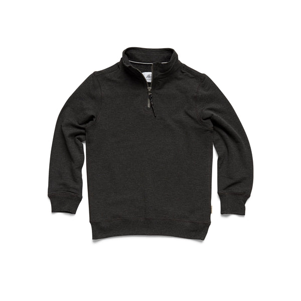 FLEECE - Boys Brushback Fleece Zip Mock - Charcoal Heather