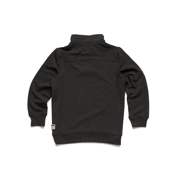 Boys Brushback Fleece Zip Mock - Charcoal Heather