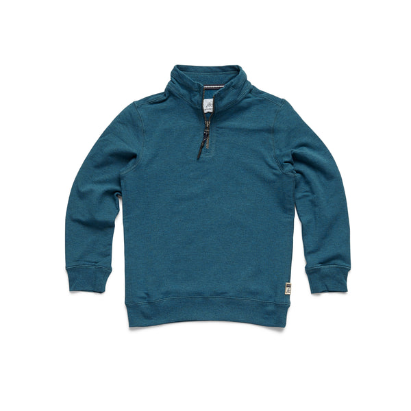 FLEECE - Boys Brushback Fleece Zip Mock - Seaport Heather