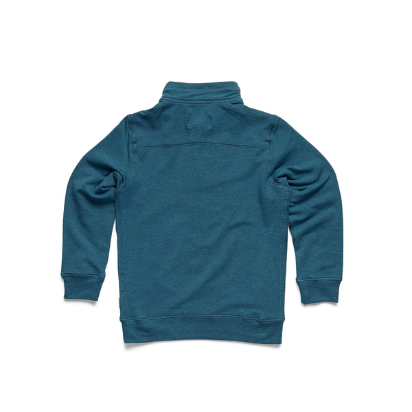 Boys Brushback Fleece Zip Mock - Seaport Heather