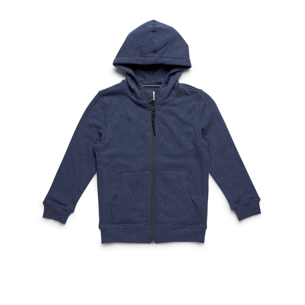 FLEECE - Boys Full-Zip Soft Heather Hoodie - Indigo Blue