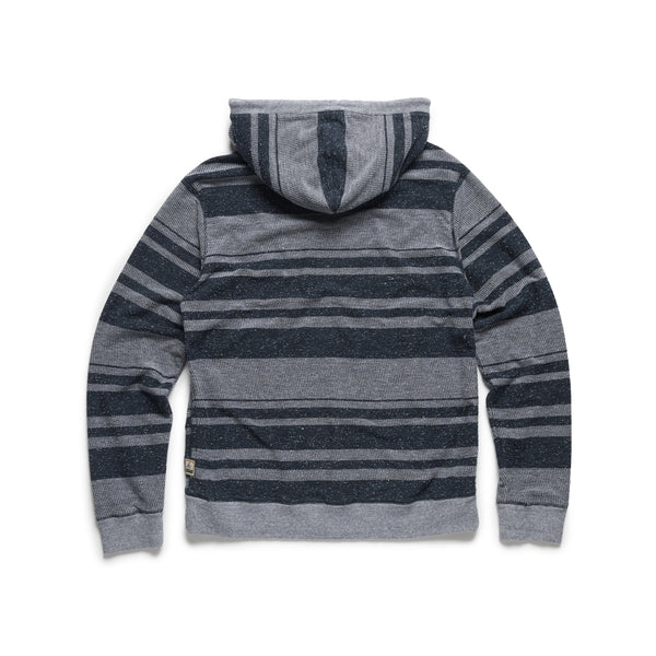 FLEECE - Boys Striped Popover Hoodie - Navy