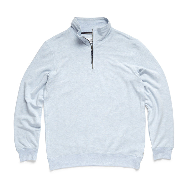 FLEECE - Brushback Fleece Zip Mock - Aqua Heather