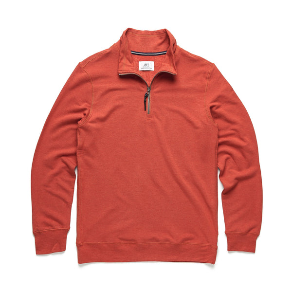 FLEECE - Brushback Fleece Zip Mock - Orange