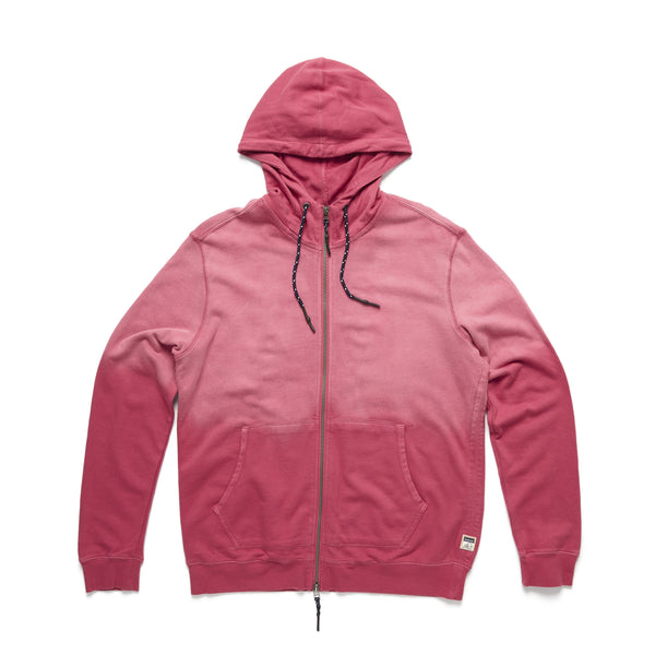 FLEECE - Garment Dyed Faded Hoodie - Washed Red