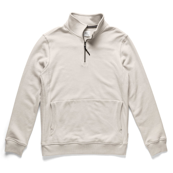 FLEECE - Garment Washed Zip Mock - White
