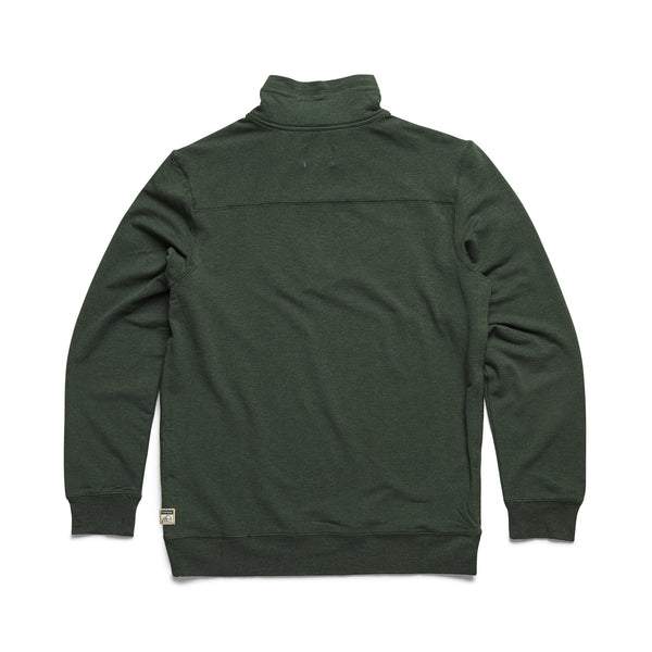 FLEECE - L/S Brushback Fleece Zip Mock - Bistro Green Heather