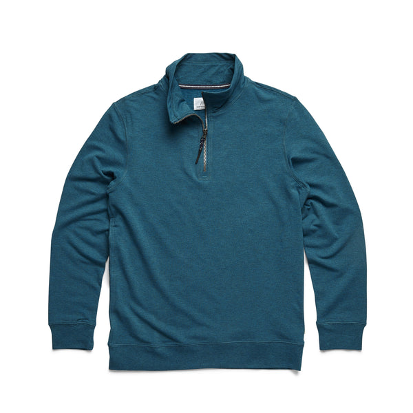 FLEECE - L/S Brushback Fleece Zip Mock - Seaport Heather