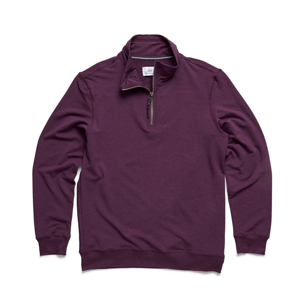FLEECE - L/S Brushback Fleece Zip Mock - Wineberry Heather