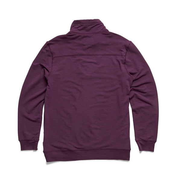 L/S Brushback Fleece Zip Mock - Wineberry Heather