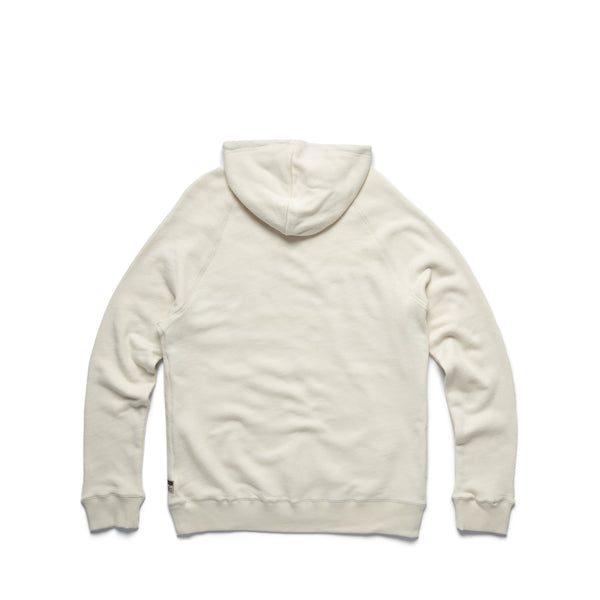 FLEECE - Popover Retro Print Hoodie - Off White