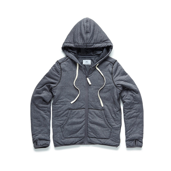 Quilted Zip Plush Hoodie - Charcoal Heather - Surfside Supply Co.  - 1
