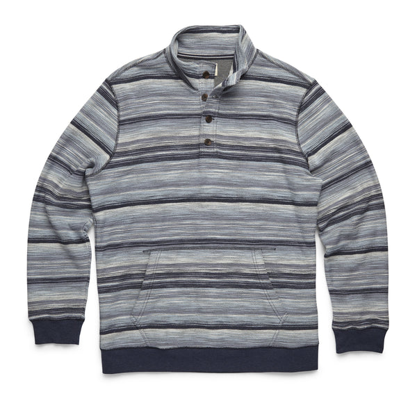 FLEECE - Reverse Fleece Spacedye Pullover - Navy Blazer