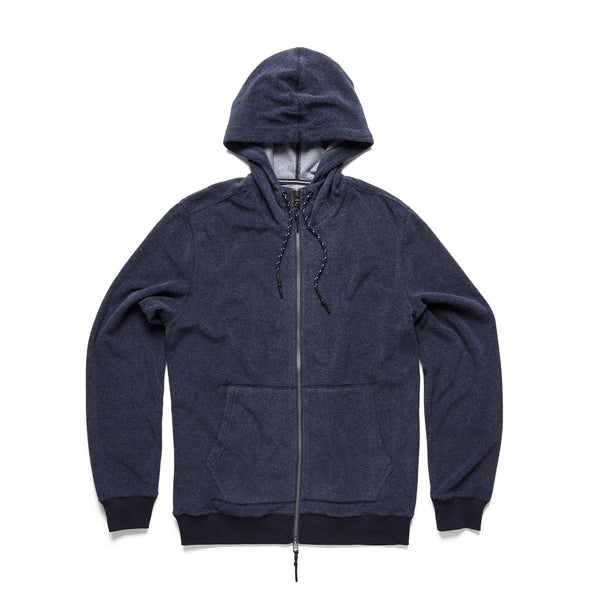 FLEECE - Saltwater Terry Full Zip Hoodie - Navy Blazer
