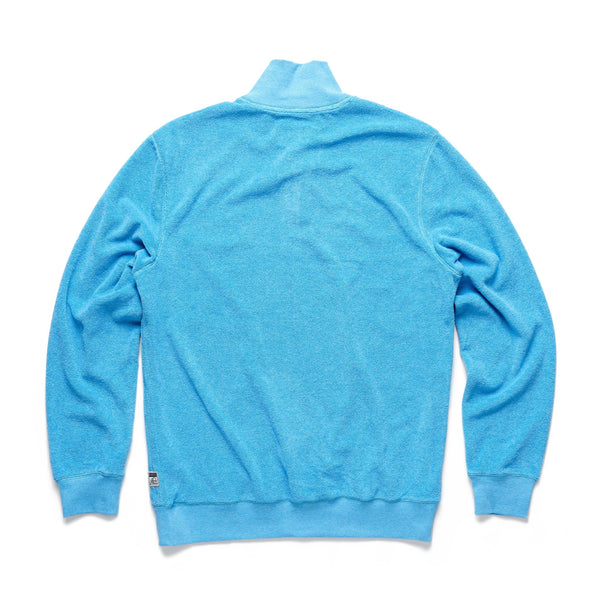 FLEECE - Saltwater Terry Zip Mock - River Blue