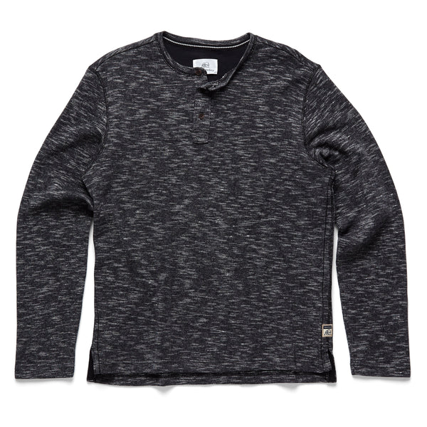 FLEECE - Spacedye Fleece Henley - Black
