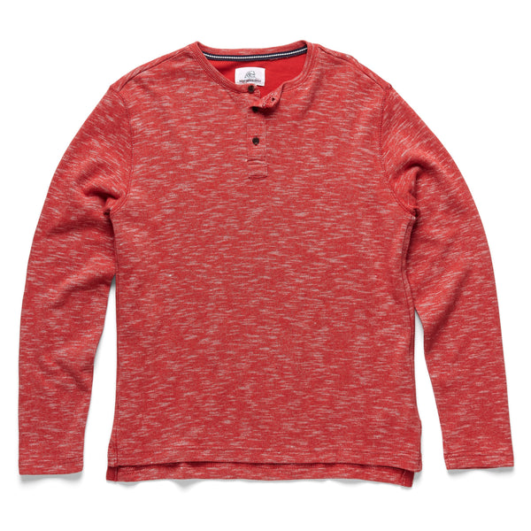 FLEECE - Spacedye Fleece Henley - Red