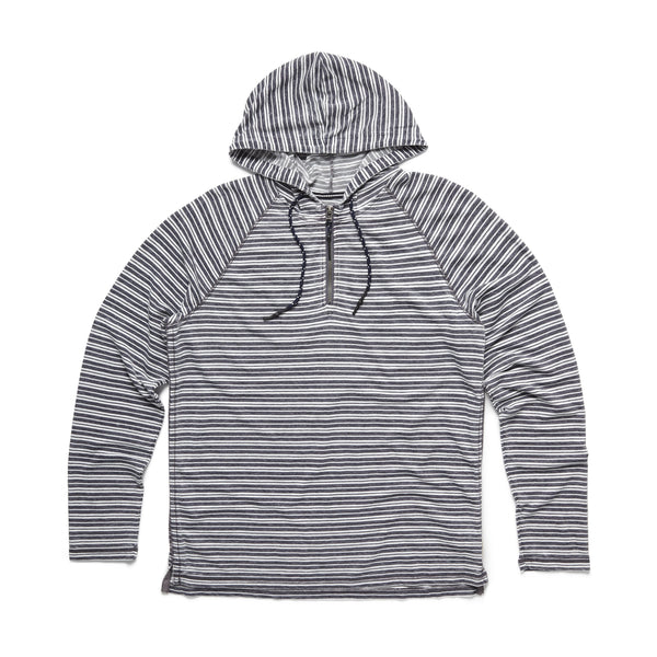 FLEECE - Striped Half Zip Hoodie - Navy