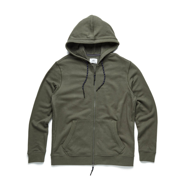 FLEECE - Suede Fleece Hoodie - Beetle Green