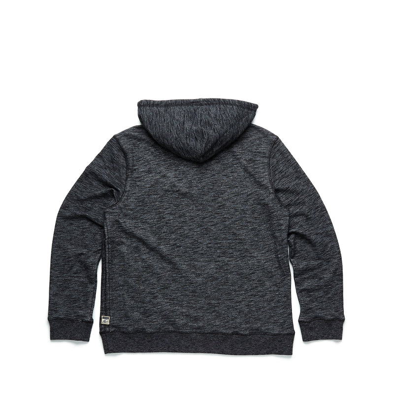 FLEECE - Two Tone Hooded Henley - Jet Black