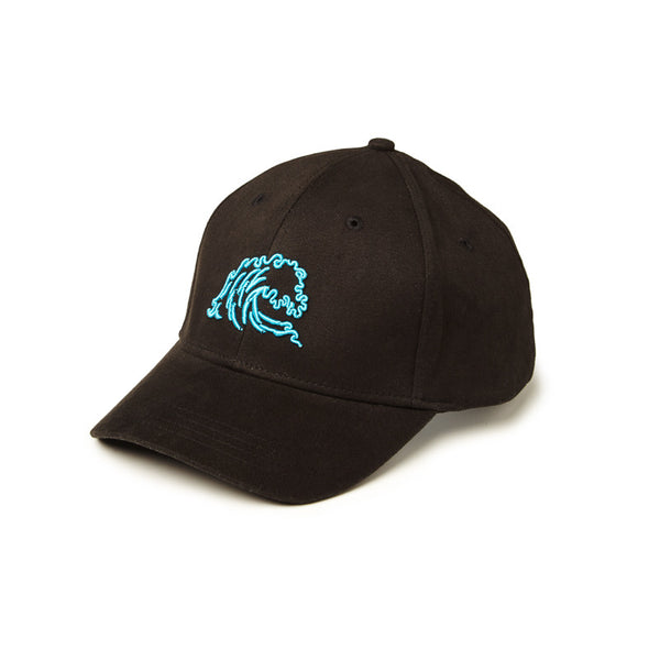 Flex Fit Wave Logo Hat - Black/Teal - Surfside Supply Co.  - 1