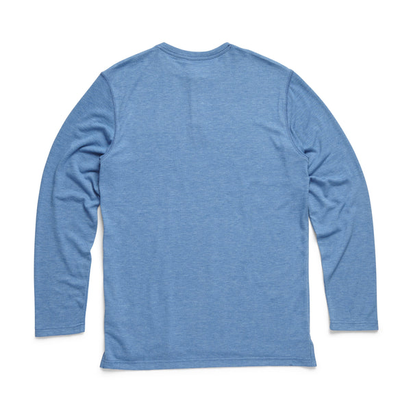 HENLEYS - L/S Classic Henley - Deep Water Blue