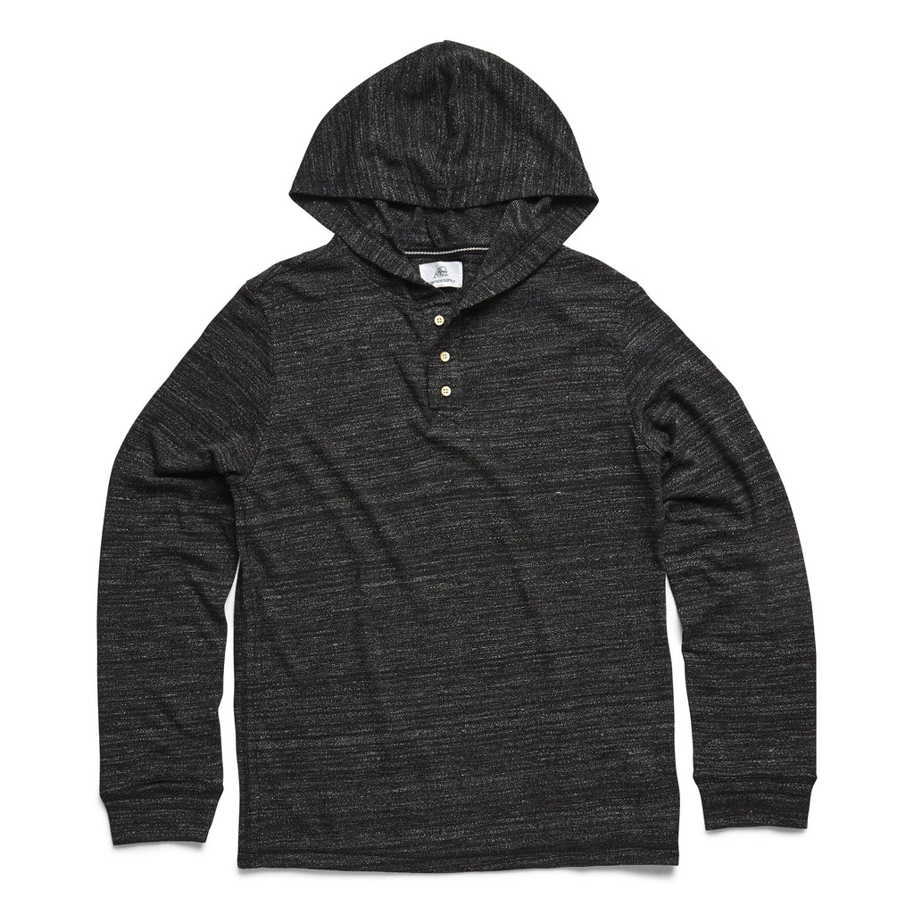 HENLEYS - L/S Marled Hoodie Henley - Charcoal