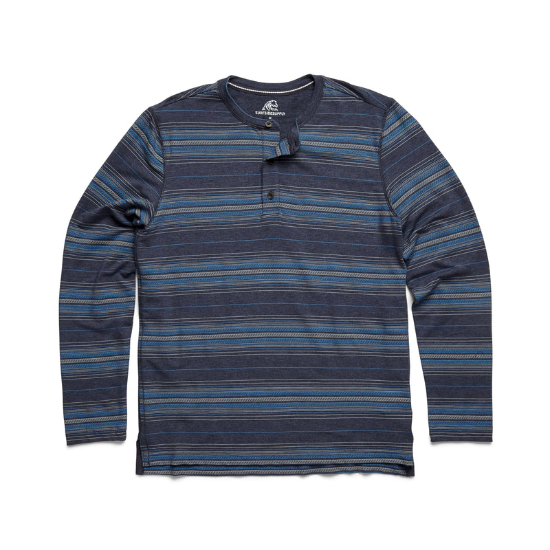 L/S Striped Soft Henley - Navy