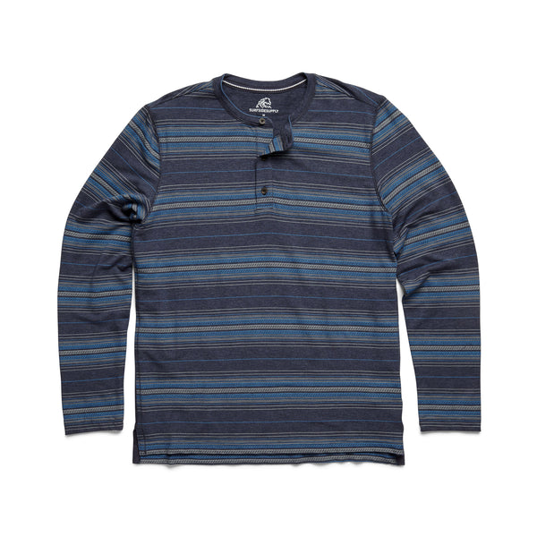 HENLEYS - L/S Striped Soft Henley - Navy