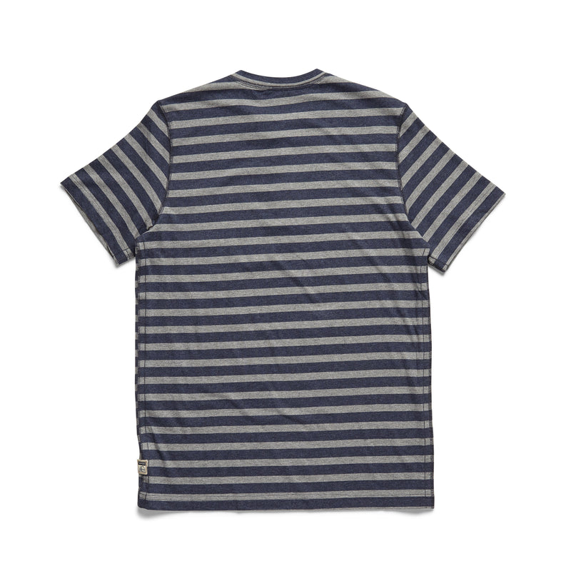 S/S Striped Henley - Navy Heather