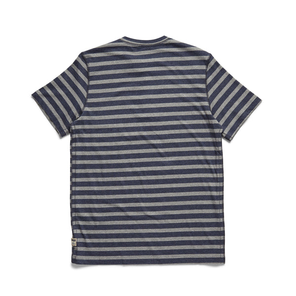 HENLEYS - S/S Striped Henley - Navy Heather