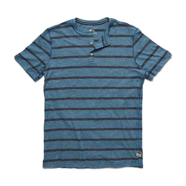HENLEYS - S/S Striped Henley - Turquoise