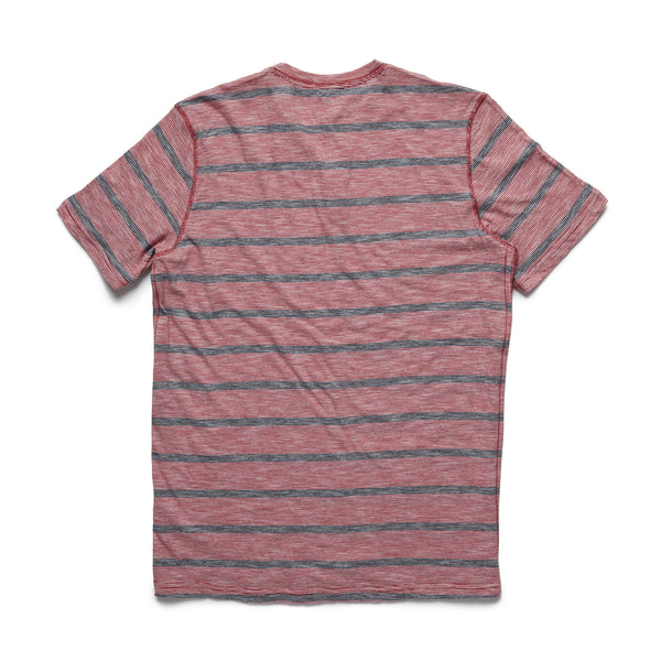 HENLEYS - S/S Striped Henley - Washed Red