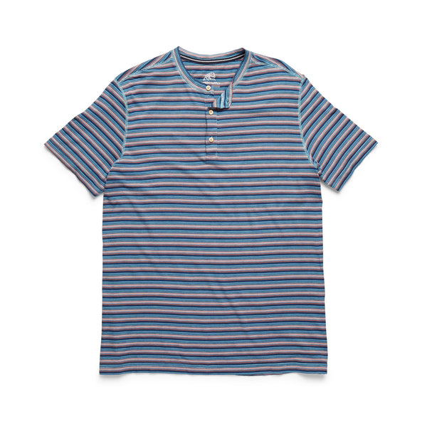 HENLEYS - S/S Yarn-Dye Stripe Henley - Dark Blue