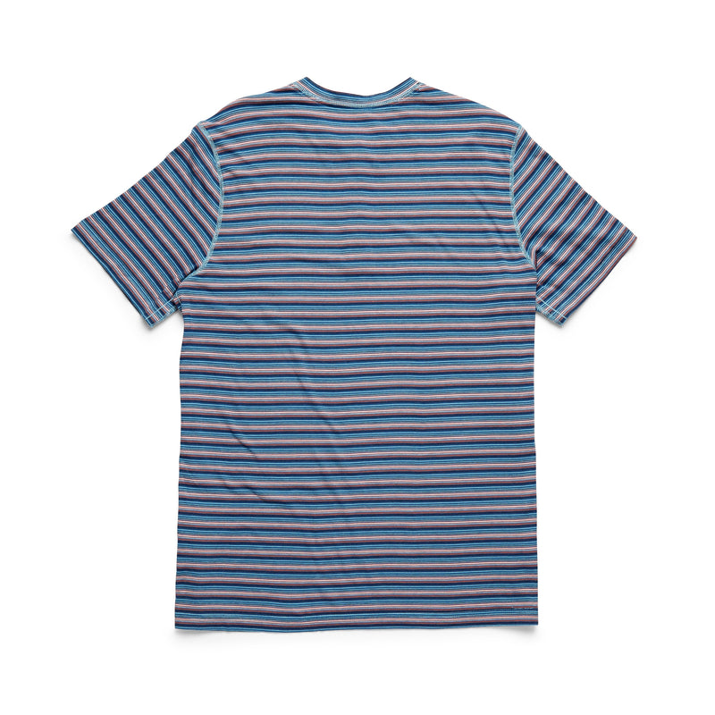 S/S Yarn-Dye Stripe Henley - Dark Blue