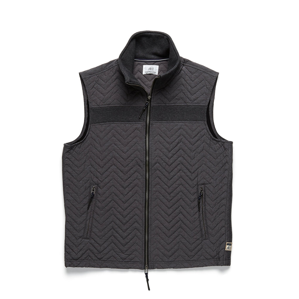OUTERWEAR - Bonded Quilted Vest - Charcoal Heather