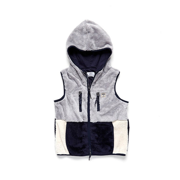 Colorblock Sherpa Hoodie Vest - Surfside Supply Co.  - 1