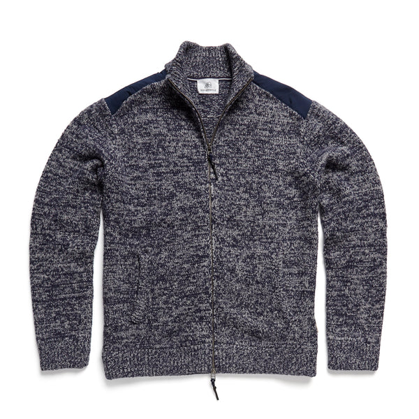 OUTERWEAR - L/S Marled Full Zip Sweater Jacket - Navy Blazer