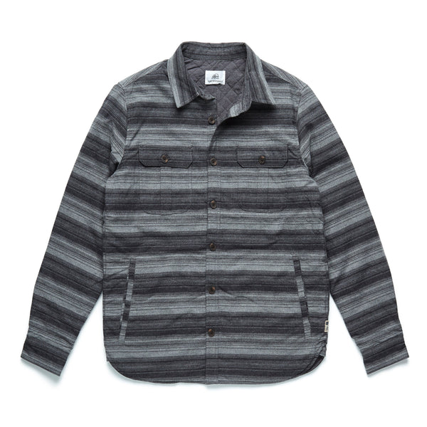 OUTERWEAR - L/S Striped Shirt Jacket - Charcoal Heather