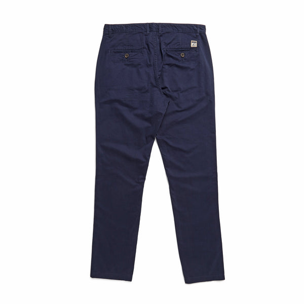 PANTS - Flat Front Cotton Pant - Navy Blazer