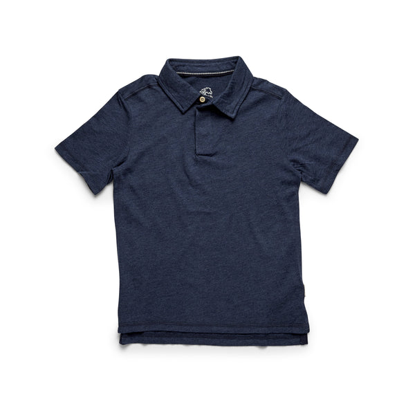 Boys Heathered Polo - Indigo Heather