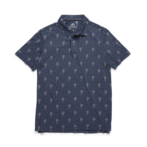 POLOS - S/S Palm Tree Polo - Indigo Blue Heather