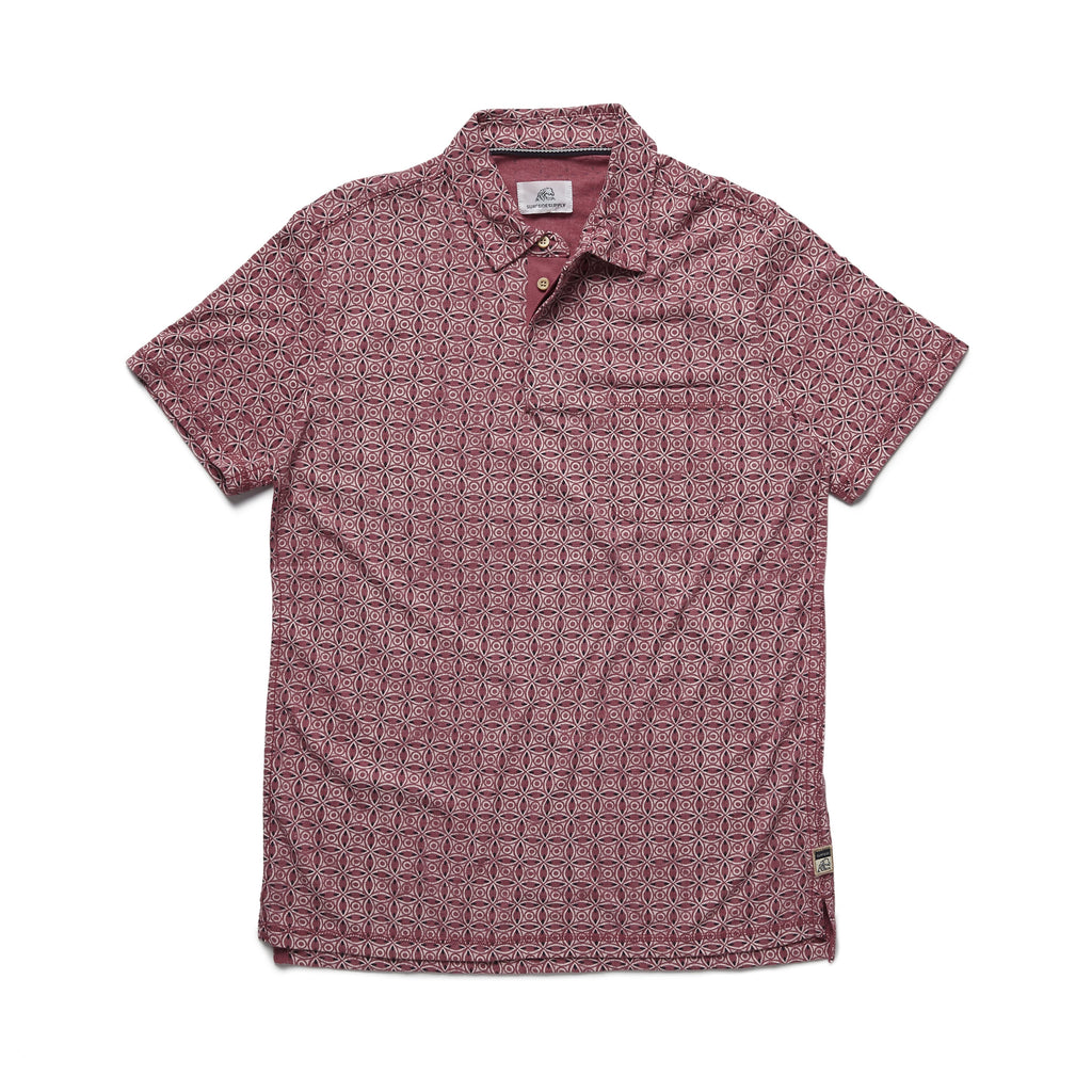 POLOS - S/S Printed Polo - Washed Red
