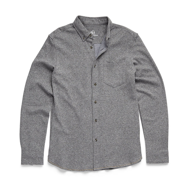 SHIRTS - L/S Bonded Cozy Heathered Shirt - Heather Grey
