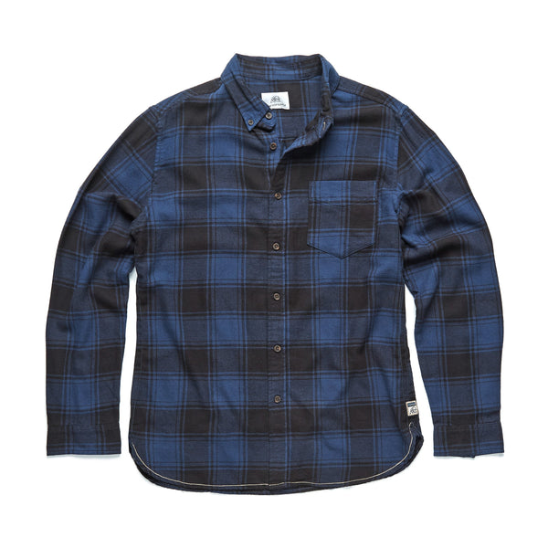 SHIRTS - L/S Box Plaid Flannel Shirt - Navy Blazer