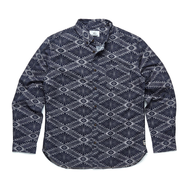 SHIRTS - L/S Diamond Floral Shirt - Navy Blazer