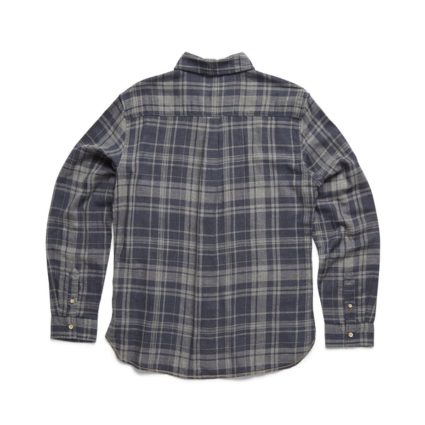 SHIRTS - L/S Double Gauze Plaid Shirt - Navy Heather Combo