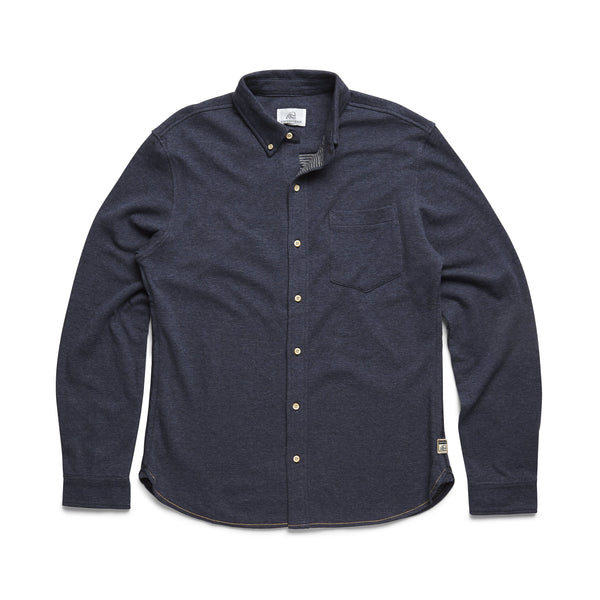 SHIRTS - L/S Doubleface Knit Shirt - Navy Heather